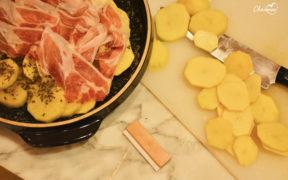 Tarte Tatin salata con patate e speck