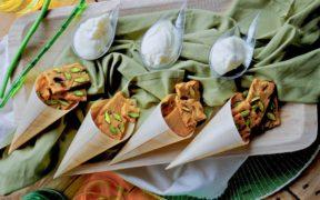 Mousse al pecorino con biscotti salati
