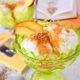 Gelato al Fior di vaniglia, pesche e nocciole