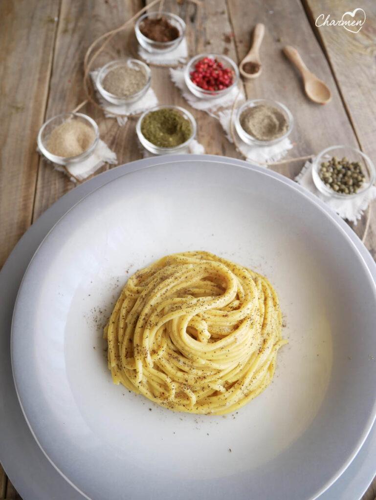 Spaghetti Cacio e 7 pepi